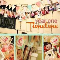 Banner of baby's first year pictures for a birthday party.