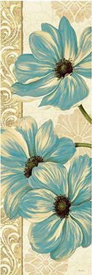 RB6811PG  Garden Fete Turquoise Panel I  36x12