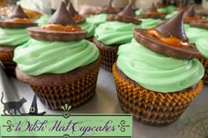 easy Halloween Cupcake Ideas, Witch Hat Cupcakes . So easy the kids can help! Great Halloween Activity or great for Halloween Parties.