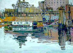 """""""Vancouver Waterfront,"""" Jane Peterson, gouache, 18 x 24"""", private collection."""