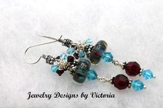 Garnet Storm Sterling Silver  Lampwork EarringsOOAK by fa2756, $19.99
