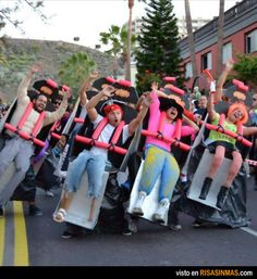 Oh you know, just people dressed up as a roller-coaster. Friends beware we are so doing this!