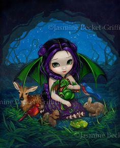 Dragonling Garden III three faery girl dragon animals fairy art print by Jasmine Becket-Griffith 8x10