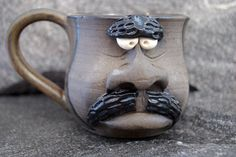 Grumpy face mug, pottery coffee cup, mustache mug by KindredMade on Etsy https://www.etsy.com/listing/219112706/grumpy-face-mug-pottery-coffee-cup