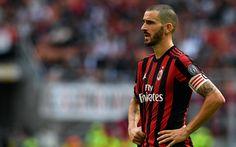 Download wallpapers Leonardo Bonucci, match, footballers, Serie A, AC Milan, soccer, Rossoneri, Milan
