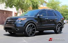 24 inch Dub Push Gloss Black Milled Wheels on 2014 Ford Explorer w/ Specs Wheels Ford Sport, Sport Trac, Car Ford, Ford Trucks, Lifted Trucks, Ford Explorer 2017, Custom Rims And Tires, Rim And Tire Packages, Ford Explorer Accessories