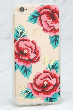 The Sonix Santa Rosa Pink Floral Print iPhone 6 Case is dedicated to the one you love - your iPhone! This clear plastic case has a pink, red, and green floral print with metallic gold accents, plus shock-absorbent rubber sides, and access to all ports. Fits iPhone 6 and 6s.