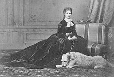 1867 Sisi in famous pose with her dog 'Shadow' by Emil Rabending