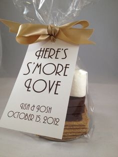 S'more wedding favors with cute tags. 50th Anniversary Favors, Mom Dad Anniversary, Anniversary Party Decorations, Anniversary Ideas, Pearl Anniversary, 50th Party, Wedding Party Favors, Wedding Parties, Wedding Invitations