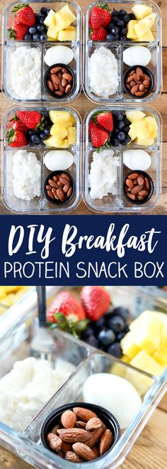 DIY Breakfast Protein Box - Easy Morning Meal Prep- for lower sugar more fiber replace fruit with sliced apple