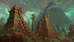 The great temple city of Tlachmiz is a relic of a people lost to time. Now the Panthera inhabit temple cities like Tlachmiz for protection against the more savage races of the jungle. Fantasy Pictures, Architecture Artists, Warhammer Fantasy, Fantasy Art Landscapes, Aztec Temple, Fantasy City, Art, Sky And Clouds, Scenery