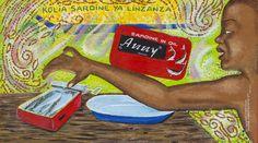 Papa Mfumu'Eto 1er - Série miniatures - Kolia sardine ya linzanza, 2013, acrylique sur toile, 20 x 37 cm