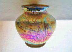 INTENSELY Gorgeous IRIDESCENT Signed FISKE Glass VASE Gold Aurene 1980s KING TUT