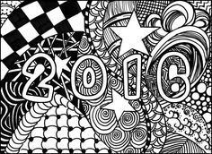 Free Printable Difficult Grown Up Coloring Pages New Year Creative Leisure Activities Beautiful Drawings Happy Drawing 2016