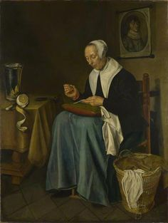 An Old Woman seated sewing  by Johannes van der Aack  Date painted: 1655