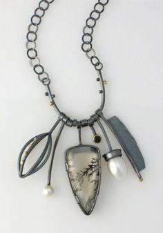 Black & White Cluster necklace- Sydney Lynch