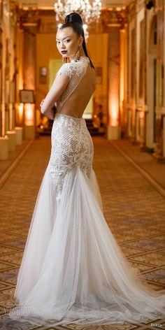 berta spring 2018 bridal cap sleeves high neck heavily embellished bodice tulle skirt flowy drop waist elegant a  line wedding dress keyhole back sweep train (01) bv -- Berta Spring 2018 Wedding Dresses