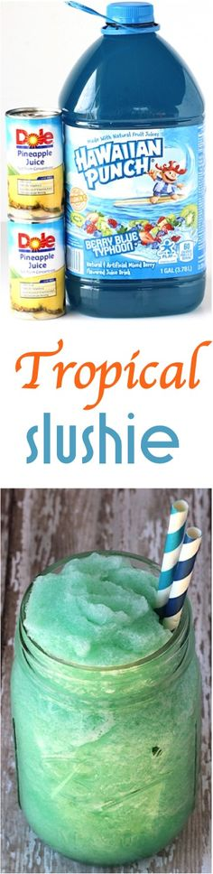 Summer Slush Drinks!  Enjoy a little taste of the tropics with this delicious Tropical Slushie Recipe! It's the perfect way to cool down on a hot day, but is sure to refresh you any day of the year!