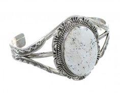 Native American White Buffalo Turquoise Sterling Silver Cuff Bracelet www.silvertribe.com