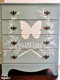 Brag Monday – French Butterfly Chalk Paint Dresser & Silhouette Cloche