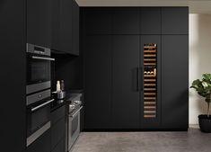 55 Ideas Tall Kitchen Cabinets Wall For 2019 Kitchen Corner, New Kitchen, Kitchen Decor, Tall Kitchen Cabinets, Kitchen Cabinet Styles, Kitchen Flooring, Kitchen Countertops, Shaker Style Kitchens, Wine Fridge