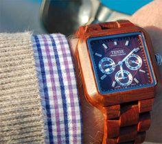 tense wood watch in sandalwood