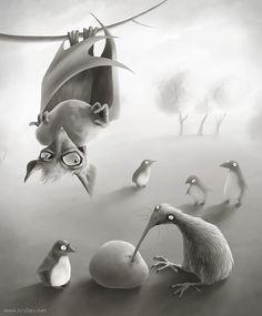 Черезвычайно часто на островах Новой Зеландии, летучие мыши-плодожорки дружат с нелетающими птичами.