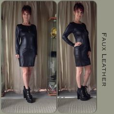 "RESTOCKED NEW IN PACKAGE BLACK FAUX LEATHER DRESS 5 start rated long sleeve black faux leather dress with back zipper. The dress measures flat 19"" bust, 16"" waist, 19"" hips with a 2 inch stretch allowance. The dress has no pattern to distort so it easily can compensate another 2"" easily. The dress is a perfect blank canvas to style from & looks great with animal prints! Dresses Long Sleeve"