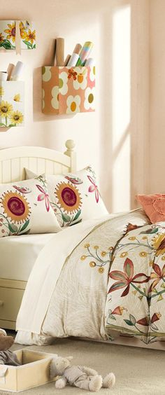 Keelias Bedding | Love the fabric covered boxes on the wall #girls #rooms