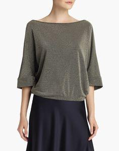 Metallic Pique Sabrina Relaxed Top - Tops & Tanks - Women - Clothing   Lafayette 148 New York