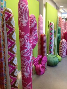 Fabric cactus at Manuel Canovas- clever display idea