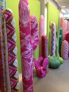 Fabric cactus at Manuel Canovas- clever display idea