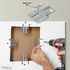 If you're installing a drywall patch, you've got to screw the patch to something. Usually, that means installing wood backing. But here's a quicker, easier way: Screw drywall repair clips to the surrounding drywall and screw in the patch. Then break off the tabs and you're ready for mud. Get a six-pack at home centers.
