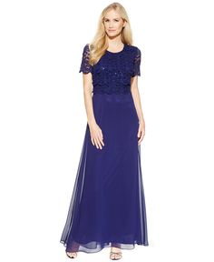 90d84239b78 R M Richards Embellished-Lace Popover Gown   Reviews - Dresses - Women -  Macy s