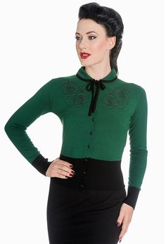 Hell Bunny Olivia Cardigan - Green Front View
