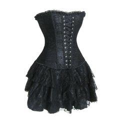 Boned Lace Up Back Corset Bustier   Mini Skirt on Chiq http://www.chiq.com/boned-lace-back-corset-bustier-mini-skirt