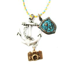 Anchor Crest and Camera Shaped Charm Necklace in Silver   DOTOLY