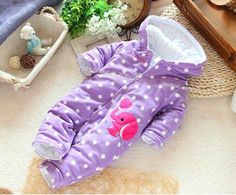 Free shipping Baby romper for winter baby girl's  bodysuit clothes and climb cotton thermal romper jumpsuit $25.40