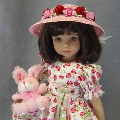 """~ PRETTY AS A  PICTURE ~ Pink/ Red Easter Dress set ~  Effner 13"""" Little Darling #IDreamofJeanneMarie"""