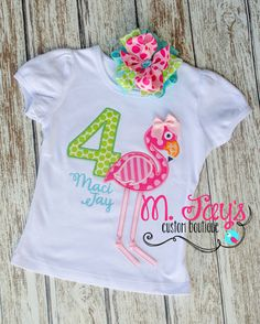 Birthday Flamingo Custom Applique Shirt-Personalized with Name and number