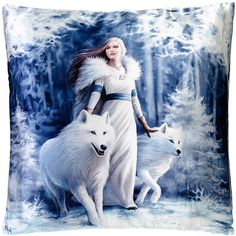 Nemesis Now Winter Guardians Cushion (16 x 16 ($24) ❤ liked on Polyvore featuring home, home decor, throw pillows and winter throw pillows