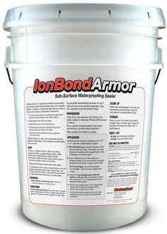 Ion-Bond Armor Subsurface Elastomeric Concrete Sealer forms a subsurface waterproof barrier in concrete or masonry against negative side water pressure. Reduces vapor and radon. Seals even through latex paint. Permanent.
