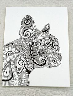 Hand Drawn Henna Style French Bulldog by JustTheCrumbs on Etsy