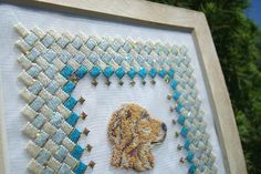 Golden retriever on silk gauze by KreinikGirl, via Flickr, stitched by Patricia Parra