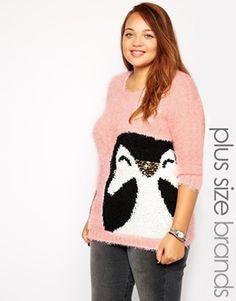 New Look Inspire Pink Penguin Christmas Jumper $48