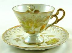 Yellow Rose Porcelain vintage Iridescent TEA CUP & SAUCER Gold accent Scallop