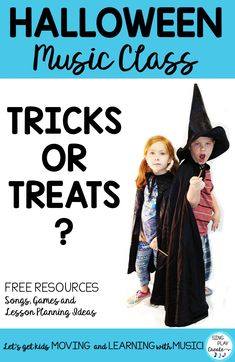 "Teach? Learn? Seriously? In October? Is that a trick or a treat? Halloween music class lessons can be the ""trickiest"" ones to pull off. It's hard to ""teach"" anything in music class with all the sugar in the air. Keep reading to learn how to get ready for Halloween music class tricks or treats! #singplaycreate, #elementarymusichalloweenlessons #musicedhalloween   #halloweenmusicactivities, #musicedhalloweensongs, #halloweenmusiclessons, #halloweensongsandactivities, #halloweenmusic"