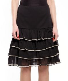 Take a look at this Black Perfect Tiered Skirt by Almatrichi on #zulily today!