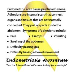 Endometriosis can cause painful adhesions. #EndoAware  www.facebook.com/EndoTwinCitiesPublic  https://www.facebook.com/events/530399066983306/