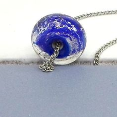 Chain-necklace-lampwork-glass-bead-pendant-by-Bob-18-inch-HANDMADE-blue-dichroic